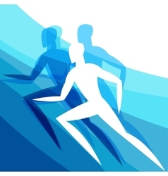 Background with abstract stylized running men vector