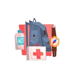 Backpacking items set vector