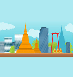 Bangkok detailed banner symbols of thailand vector