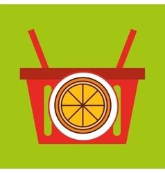 Basket shopping orange juicy fruit vector