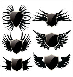 Black shield with wings vector image vector image