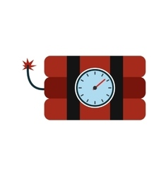 Bomb with clock timer flat icon vector image