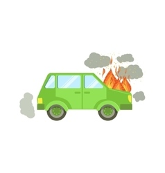 Car With Engine On Fire And Smoke Clouds Around vector image vector image