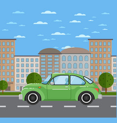 Classic retro car in urban landscape vector