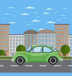 classic retro car in urban landscape vector image vector image