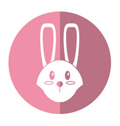Cute easter face bunny shadow vector