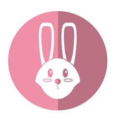 cute easter face bunny shadow vector image