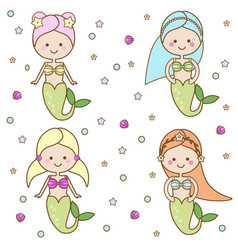 cute mermaids characters vector image
