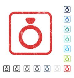 Diamond ring icon rubber watermark vector
