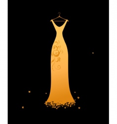 evening dress golden on hangers vector image vector image