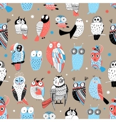 Exotic pattern with different owls vector
