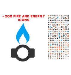 gas flame icon with bonus power set vector image