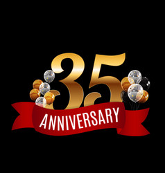 golden 35 years anniversary template with red vector image vector image