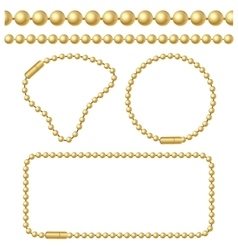 Golden chain of ball links set vector