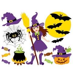 Halloween Witch Set vector image