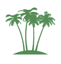 island with palms on white background vector image