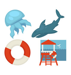 Lifeguard or sea guard icons shark rescuer vector
