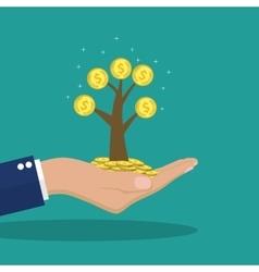 Man hands holding money tree vector