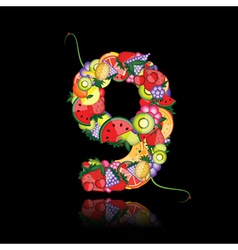 number nine made from fruits vector image vector image