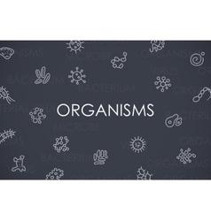 Organisms thin line icons vector