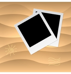 Photoframe on the tropical veack yellow sand vector image