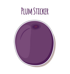 Purple plum sticker ripe fruit label vector