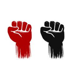 raised fist grunge force strength power symbol vector image