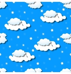 Seamless wallpaper with clouds and snowflakes vector