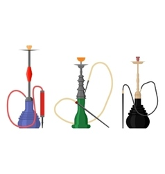 Set of hookah with pipe for tobacco smoke vector