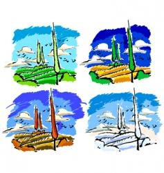 set of landscape vector image