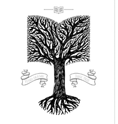 Tree crown in the shape of book vector image vector image