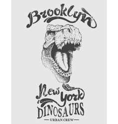 Urban graphic label with head of dinosaur vector