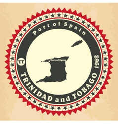 Vintage label-sticker cards of trinidad and tobago vector