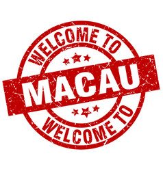Welcome to macau red stamp vector
