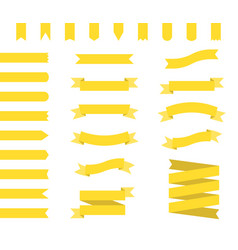 yellow ribbons set ribbon banners flat vector image vector image