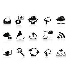 Black cloud network icon set vector