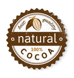 Cocoa round stamp with type design vector