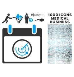 Radar calendar day icon with 1000 medical business vector