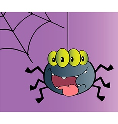 Four eyed creepy spider suspended from a web vector