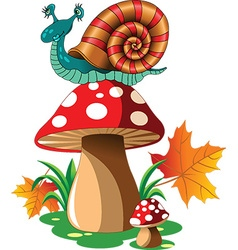 Snail mushroom cartoon vector