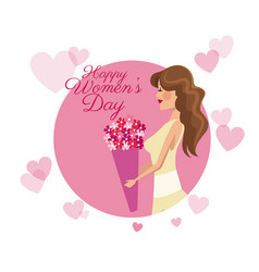 Happy womens day card girl flower pink hearts vector