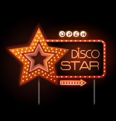 neon sign of disco star and neon text disco star vector image