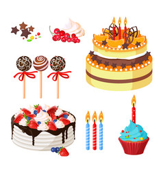 Birthday cakes and attributes colorful poster on vector