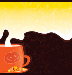halloween styled cup with a hot drink vector image
