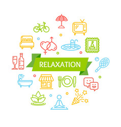 Relaxation rest time color round design template vector
