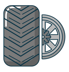car wheel tire icon cartoon style vector image