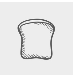 Single slice of bread sketch icon vector