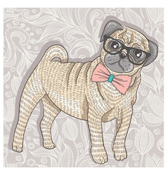 Hipster pug with glasses and bowtie vector