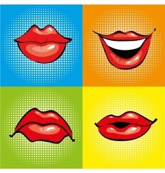 Mouth with red lips in retro pop art style vector