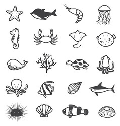 Cartoon sea creature icons collection vector